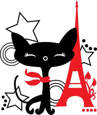 Cat Silhouette in Frankreich Schwarz und Rot Standard-Bild - 17933497