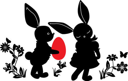 Bunnies with egg gift silhouettes Vector