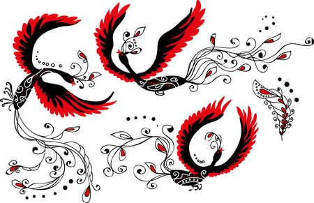 ave fenix: Conjunto de tres pájaros de calor y el diseño de pluma original y con estilo en la tradición rusa Vectores