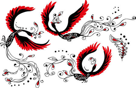 Set of three heat birds and feather  Original and stylish design in the Russian tradition Vector