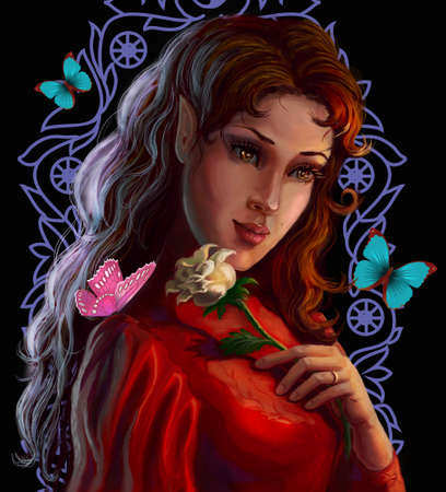 Portrait of a beautiful elf with a rose on a background of patterned ornament and butterflies  Fantasy Illustration illustration