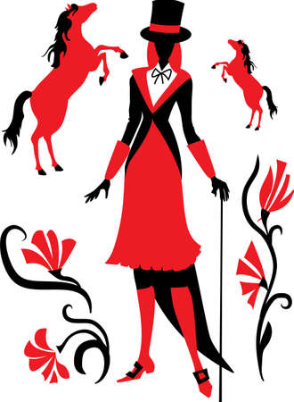 Silhouette of a girl jockey with horses and flowers  Vector illustration Vector