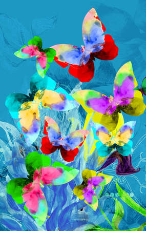 Colorful illustration of butterflies on blue plants Stock Photo