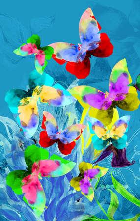Colorful illustration of butterflies on blue plants Zdjęcie Seryjne
