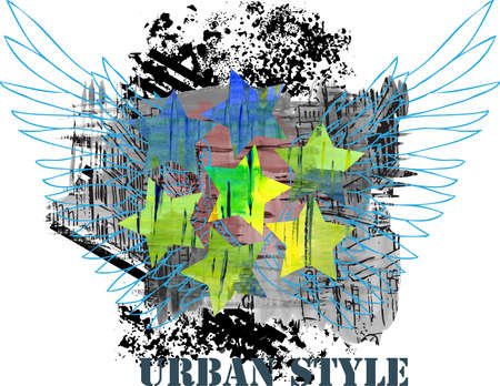 Urban abstract design with wings photo