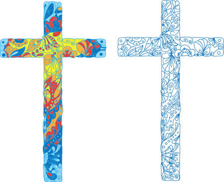 ornamented: Catholic ornamented cross for Easter  Natural ornaments, flowers, leaves, patterns  Colored lights  Illustration