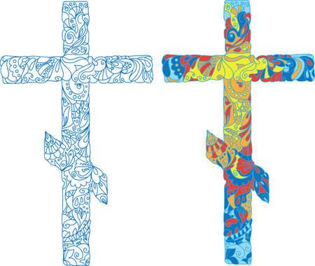 ornamented: Orthodox ornamented cross for Easter  Natural ornaments, flowers, leaves, patterns  Colored lights