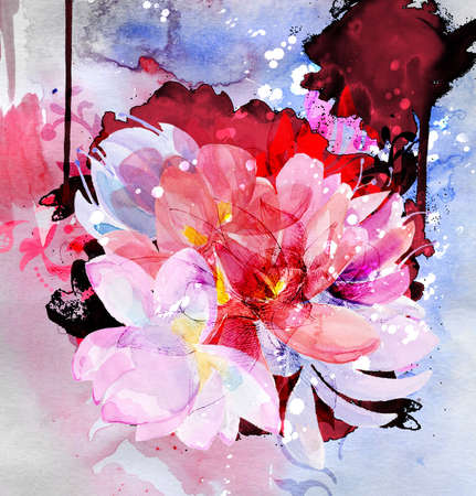 Beautiful bouquet of flowers  Watercolor illustration illustration