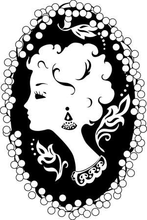 Woman silhouette vintage profile  in cameo