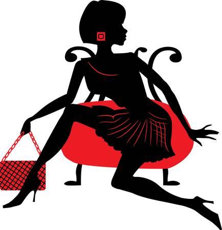 Silhouette einer jungen Frau holding Tasche Standard-Bild - 20936404
