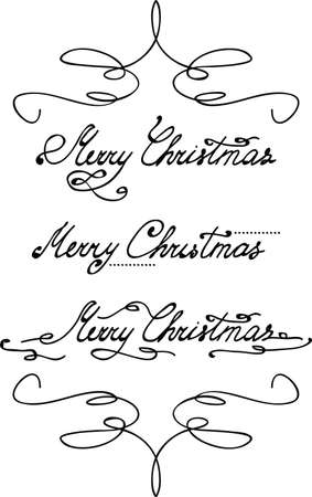 hand tag: Merry Christmas hand lettering with swirl