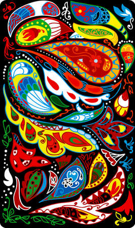 Paisley background colorful and black
