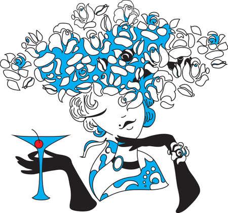 dessin au trait: Jeune femme tenant martini Encombrement Illustration