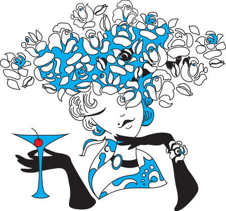 martini glass: Young female holding martini  Outline drawing