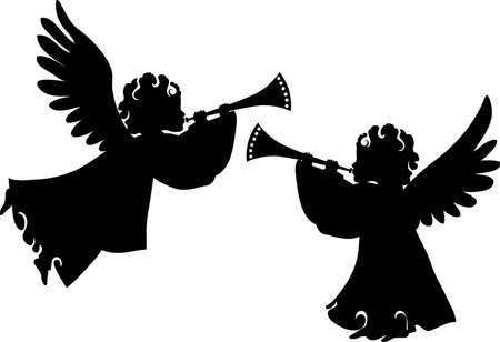 cartoon god: Cute angels silhouettes set with trumpet