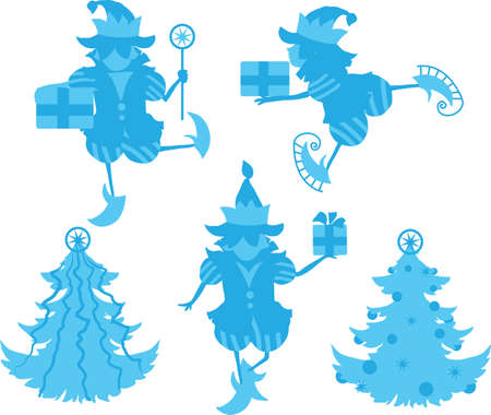Some elves silhouettes isolated on white background Stock Vector - 23073042
