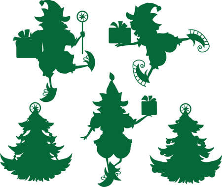 Some elves silhouettes isolated on white background Stock Vector - 23073043