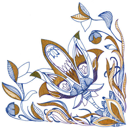Paisley flower hand drawing illustration for design 写真素材