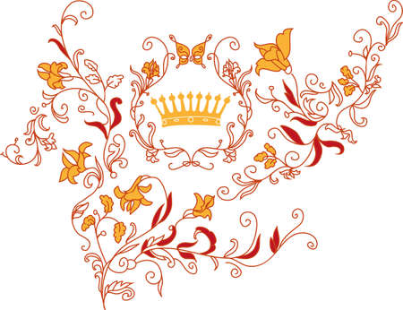 rococo style: Ornamento decorativo de estilo rococ� con la mariposa y las flores Vectores