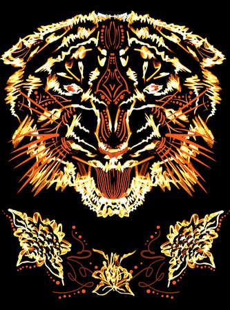 grinning: Grinning flame tiger photoshop illustration for t-shirt design