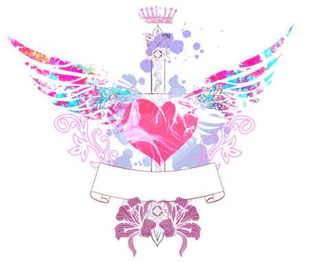 lilia: Mezcla de fondo con el coraz�n, lilia y cruz Foto de archivo