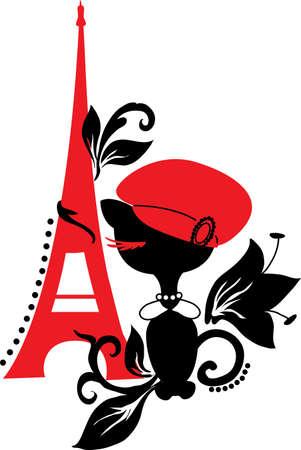 paris vintage: Cat silueta en Francia Negro y rojo
