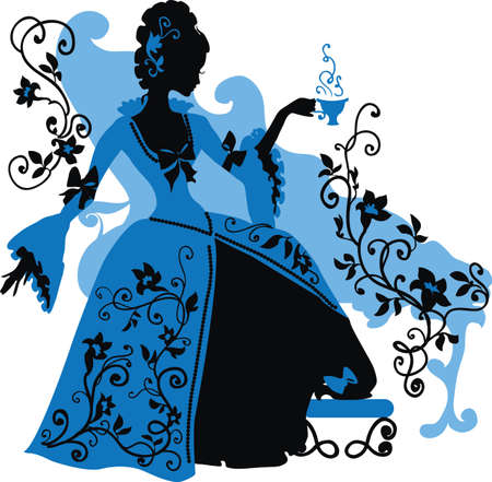 Graphic silhouette of a rococo woman with a cap of coffee  Fashion luxury Vector