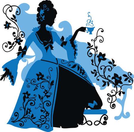 mujer elegante: Silueta gr�fica de una mujer de estilo rococ� con una tapa de la manera de lujo del caf�