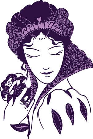 baroque: Baroque queen with a rose. Royal fashion
