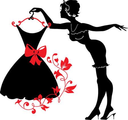 weisse kleider: Pin up Silhouette der Frau mit Kleid