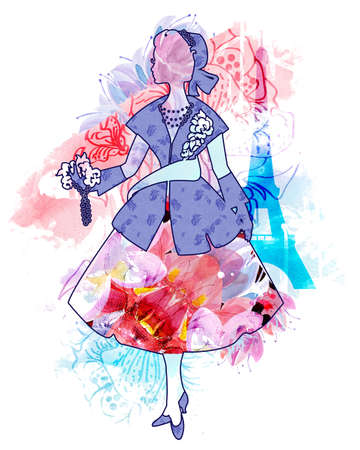 twentieth: Silhouette of an elegant woman dressed in the style of Dior. Fashion of the twentieth century. luxurious design