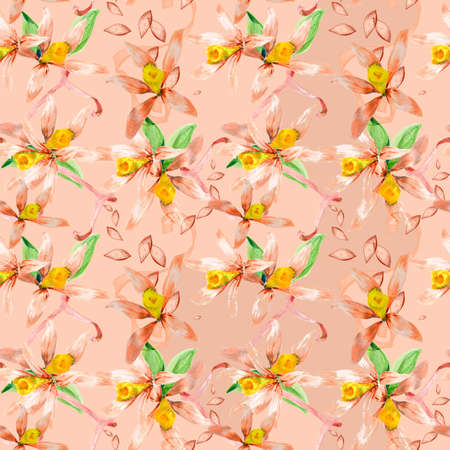 Floral seamless watercolor hand drawn pattern for design photo