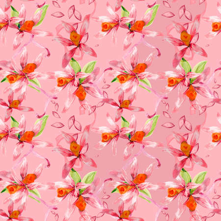layer styles: Floral seamless watercolor hand drawn pattern for design