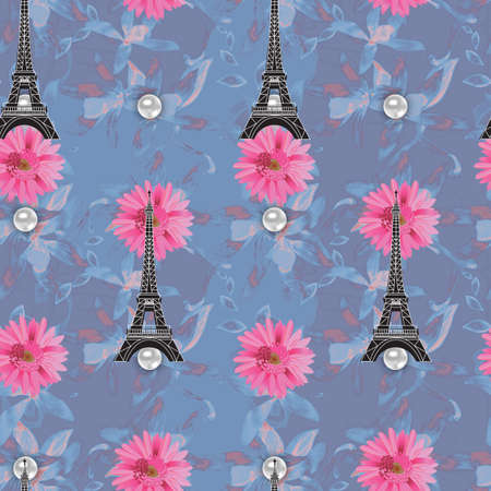 Floral seamless watercolor pattern with eiffel tower  for design photo