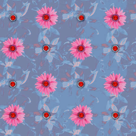 Floral seamless pattern with gems for design photo