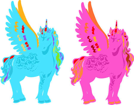 Magic Unicorn with wings in blue and pink colors Vector