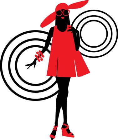 siebziger jahre: Siebziger Mode Frau mit einer Tasche Silhouette und Kreise