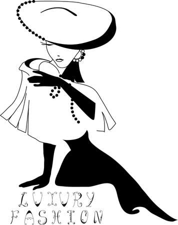 white glove: Beautiful woman silhouette vintage with a big hat