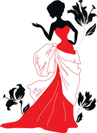 evening dress: Silhouette of a beautiful woman with flowers