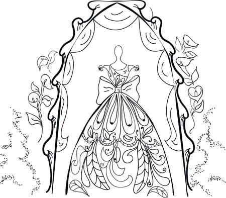 Mannequin Für Schneider Mit Kleid Und Schuhe Auf Floral Background ...