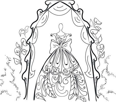 Mannequin for tailors with  dress. Wedding dress Vector