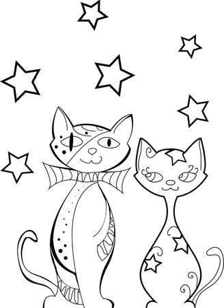 Set of cats silhouettes with stars, in love