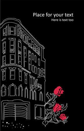 очаровательный: Очаровательный сельский район города с розами Иллюстрация