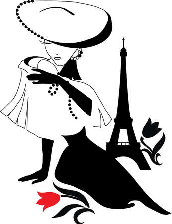Beautiful woman silhouette vintage with a big hat