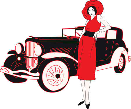 seventies: Seventies fashion woman with a automobile silhouette