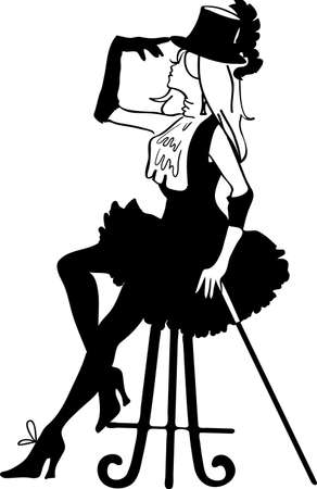 Graphic silhouette of a cabaret woman on a chair