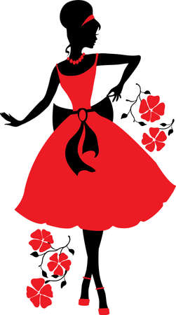 Retro woman silhouette Vector