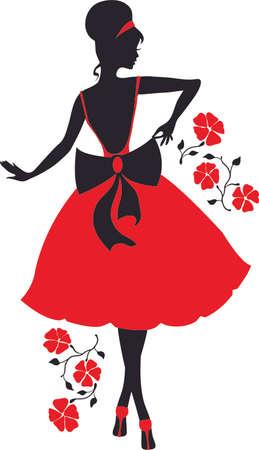nice girls: Retro woman silhouette