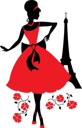 Silhueta retro da mulher Ilustração