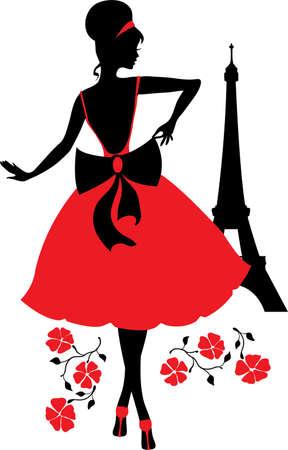 elegant dress: Retro woman silhouette